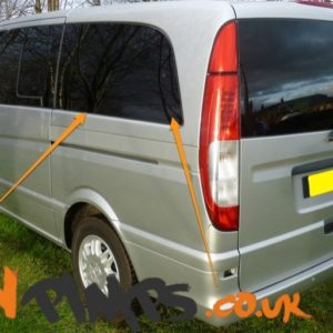 Mercedes Vito 2014> N/S/R Fixed Window in Privacy Tint XLWB