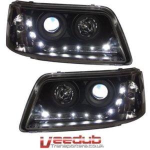 T5 Black LED Headlamps DRL Normal Indicator 9046