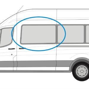 Ford Transit 2013> N/S/F Fixed Window in Privacy Tint (MWB/LWB/XLWB)
