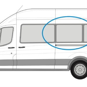 Ford Transit 2013> N/S/M Fixed Window in Privacy Tint XLWB