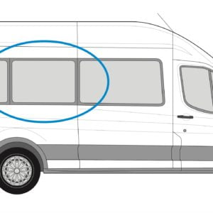 Ford Transit 2013> O/S/M Fixed Window in Privacy Tint XLWB