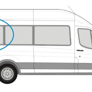 Ford Transit 2013> O/S/Rear 1/4 Fixed Window in Privacy Tint XLWB